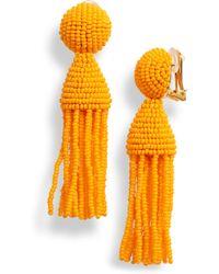Oscar de la Renta - Short Beaded Tassel Drop Earrings - Lyst