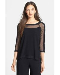 Komarov - Mesh Detail Knit Top - Lyst
