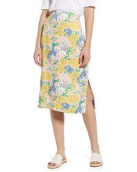 a9686872d9 BOSS by Hugo Boss Midi Skirt In Photo Lemon Print - Lyst