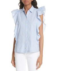 Kate Spade - Flutter Sleeve Stripe Cotton Blouse - Lyst