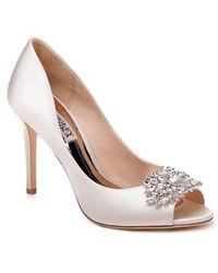Paloma Rhinestone Jeweled Satin Peep Toe Pumps gzpO4AGWX
