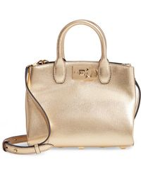 Ferragamo - The Mini Studio Leather Tote - Metallic - Lyst