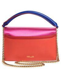 Diane von Furstenberg - Soiree Satin & Leather Top Handle Bag - Lyst