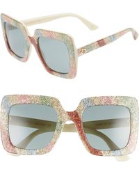 a0898c34834 Lyst - Gucci 53mm Glitter Stripe Square Sunglasses - in Metallic