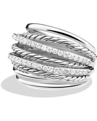 David Yurman - 'crossover' Dome Ring With Diamonds - Lyst