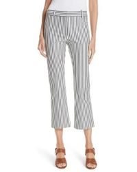 10 Crosby Derek Lam - Stripe Crop Flare Trousers - Lyst