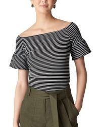 Whistles - Stripe Off The Shoulder Top - Lyst