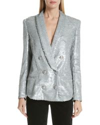 Balmain - Double Breasted Sequinned Blazer - Lyst