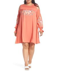 Glamorous - Embroidered Cold Shoulder Dress - Lyst