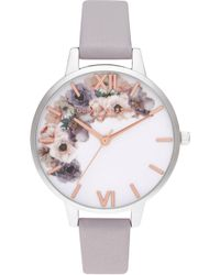 Olivia Burton - Watercolor Florals Leather Strap Watch - Lyst