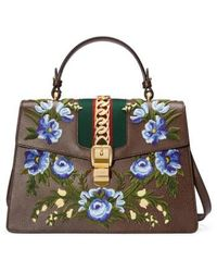 Gucci - Medium Sylvie Embroidered Top Handle Leather Shoulder Bag - Lyst