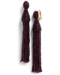 Oscar de la Renta - Long Beaded Tassel Drop Earrings - Lyst