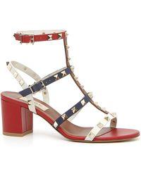fc7f299e046 Lyst - Valentino Rockstud Metallic Leather Cage Block Heel Sandals ...