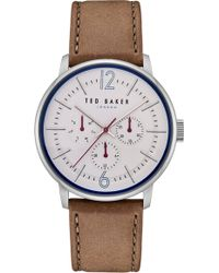 Ted Baker - Jason Multifunction Leather Strap Watch - Lyst