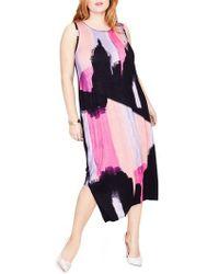 RACHEL Rachel Roy - Draped Back Print Midi Dress - Lyst