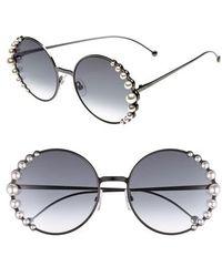 Fendi - 58mm Embellished Round Sunglasses - - Lyst
