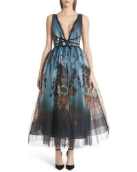 Marchesa - Ombre Floral Print Tulle Tea Length Dress - Lyst