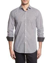 Bugatchi - Shaped Fit Chevron Print Sport Shirt - Lyst