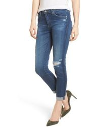 AG Jeans - Prima Ripped Roll-up Skinny Jeans - Lyst