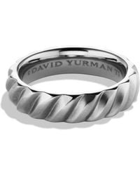 David Yurman - Cable Band Ring In Titanium - Lyst