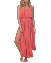 Rip Curl - Beach Babe Popover Strapless Maxi Dress - Lyst