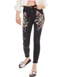 TOPSHOP - Moto Jamie Ditsy Embellished Jeans - Lyst