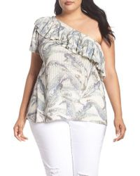 Lucky Brand - Tropical One-shoulder Top - Lyst