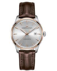 Hamilton - Jazzmaster Gent Leather Strap Watch - Lyst