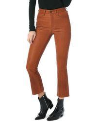 Joe's - High Waist Crop Bootcut Leather Pants - Lyst