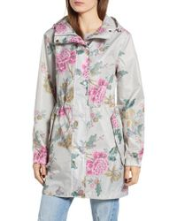 Joules - Right As Rain Packable Print Hooded Raincoat, Grey - Lyst