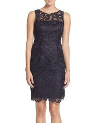 Adrianna Papell | Illusion Bodice Lace Sheath Dress | Lyst