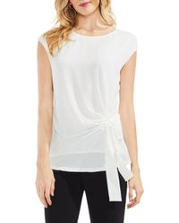 Vince Camuto - Mixed Media Tie Front Blouse - Lyst