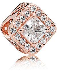 PANDORA - Rose Geometric Radiance Charm - Lyst