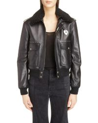 Saint Laurent - Leather Flight Jacket With Genuine Shearling Collar - Lyst