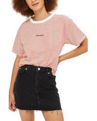 TOPSHOP - Frayed Hem Denim Miniskirt - Lyst