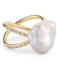 Mizuki - Pearl & Diamond Crossover Ring - Lyst