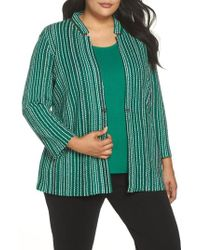 Ming Wang - Stripe Jacquard Knit Jacket - Lyst