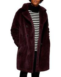 TOPMAN - Double Breasted Faux Fur Jacket - Lyst
