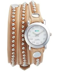 La Mer Collections - Bali Stud Leather Wrap Strap Watch - Lyst