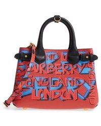 Burberry - Small Banner Graffiti Leather Tote - Lyst