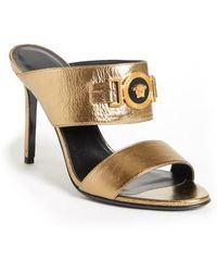 f2656bb0027 Lyst - Gucci Yellow Leather Icon Bit T-strap Platform Sandals in Yellow