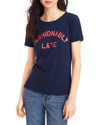 "J.Crew - ""fashionably Late"" T-shirt - Lyst"