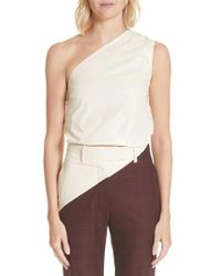 CALVIN KLEIN 205W39NYC - Coated Cotton Asymmetrical Top - Lyst