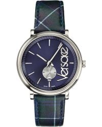 Versace - V Circle Clans Edition Leather Strap Watch - Lyst