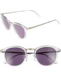 Smoke X Mirrors - Shout 49mm Retro Sunglasses - Crystal- Brushed Silver/ Grey - Lyst