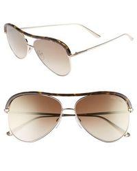 8e5fb041aae5 Tom Ford - Sabine 60mm Aviator Sunglasses - Shiny Rose Gold  Brown Mirror -  Lyst