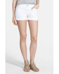 7 For All Mankind - 7 For All Mankind Cuffed Denim Shorts - Lyst