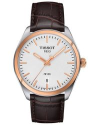 Tissot - Pr100 Automatic Leather Strap Watch - Lyst