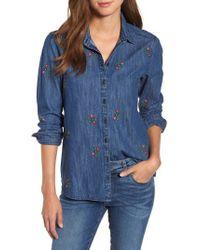 Caslon - Caslon Floral Embroidery Cotton Denim Shirt - Lyst
