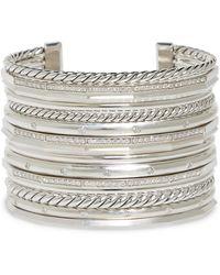 David Yurman - Stax Wide Cuff Bracelet With Diamonds - Lyst